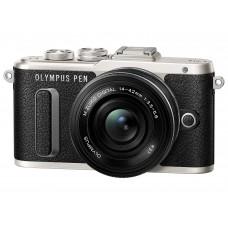 Olympus E-PL8 Pancake Zoom Kit (E-PL8 fekete váz + EZ-M1442EZ objektív fekete)+Manfrotto Stile Solo II pisztolytáska