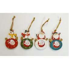ZEP KH23 karácsonyfadísz 4x4cm,fehér,kék,piros,zöld (039778)