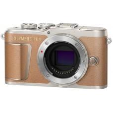 Olympus PEN E-PL9 digitális fényképezőgép váz (barna)+Manfrotto Stile Solo II pisztolytáska+Manfrotto Pocket állvány